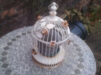decorative ivory coloured bird cage top half opens (Sherwood NG5)