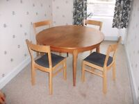 Teak extending table with 4 chairs. Cheap for quick sale - must be collected by 27 July.