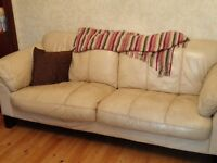 Cream leather 3 seater sofa Free for collection