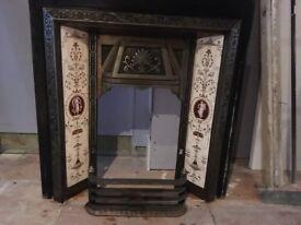 Antique metal fire place