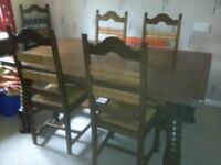 French mahoganh dining table and 6 chairs