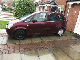 2004 Vauxhall meriva, 84k NO MOT selling as spares or repair £300 ono