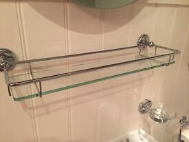 Bathroom glass shelf, soap holder with chrome surrounds wooden