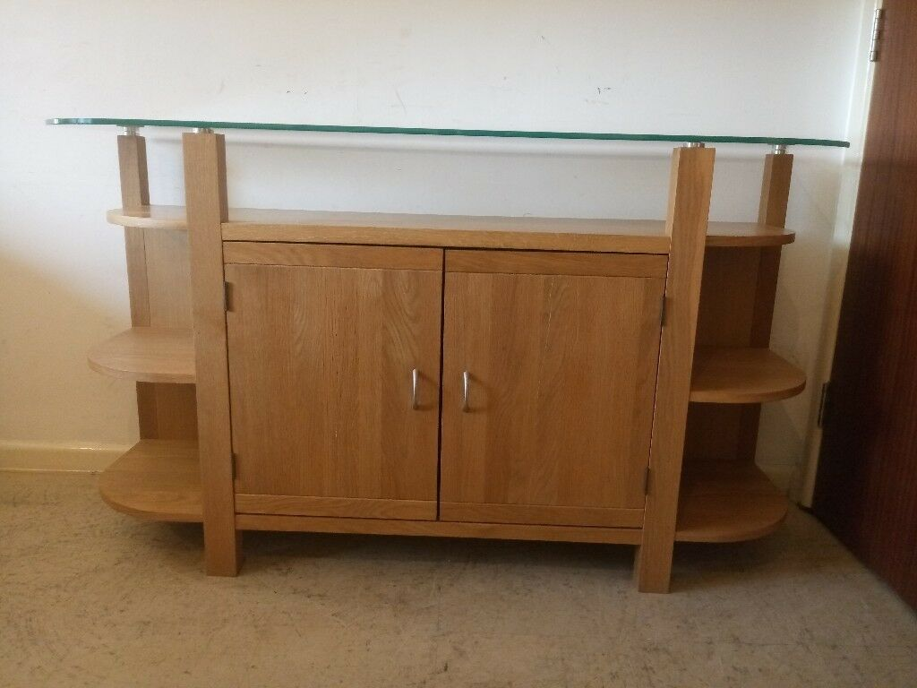Modern Solid Oak Large Sideboard/TV Stand With Glass Top Living ...