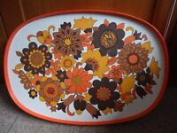LARGE FLORAL DRINKS TRAY - VINTAGE RETRO