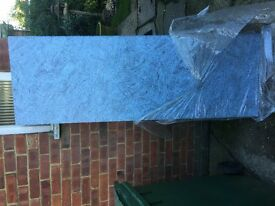 Laminated kitchen worksurface unused. length 163cm width 60cm debth 4 cm blue