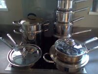 VARIOUS STAINLESS STEEL POTS AND PANS