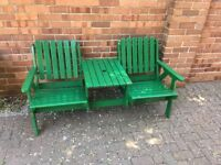 Refurbished 2 seater bench with table , Collection only