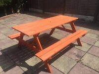 BRAND NEW 5FT PICNIC BENCH HEAVY DUTY WOODEN GARDEN TABLE BBQ