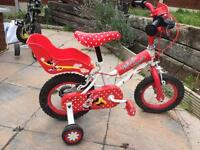 Girls cycle, red, Minnie Mouse