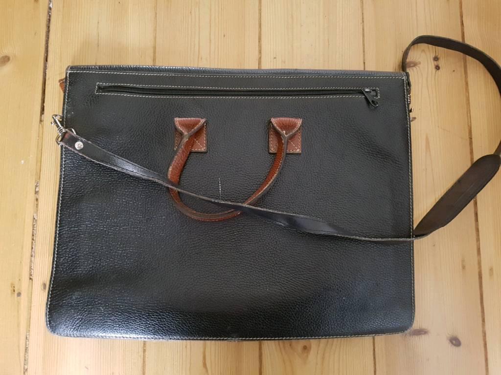 c6c8997bdf7 ... promo codes b1712 7b7df Black and tan leather satchel laptop bag in  Ealing Broadway, London ...