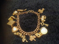 Vintage Rose Gold Charm Bracelet - With 13 Charms - Very Good Condition
