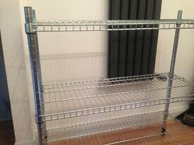 Metal heavy-duty shelving three tiers
