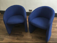 Two Blue Tub Chairs