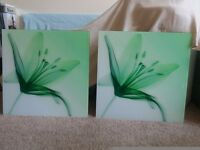 2 green glass pictures
