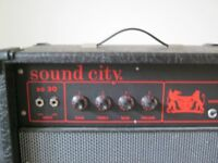 Big Heavy Bass Guitar Amplifier by Sound City c. 1972. Transistorised. Good working order.