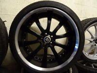 """set of 20"""" deep dish jaguar alloys with matching jaguar dunlop tyres 285 30 20 rear & 255 35 20 frnt"""