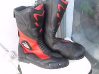 MENS FIGO BIKER BOOTS ARMOURED/ WATERPROOF SIZE 12 PLUS LEATHERS , JACKET AND GLOVES