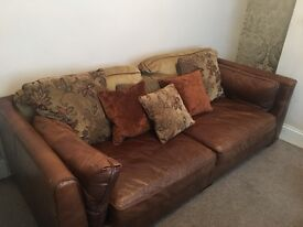 Shalimar brown leather 4 seater sofa and snug chair.