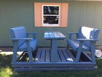 Wooden picnic table swing