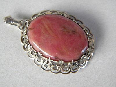 c.1930-50 SILBER ANHÄNGER roter unbekannten Stein, Durchbrucharbeit filigran
