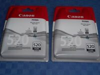 Two CANON 520 PIXMA PGBK ink cartridges