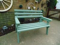 PROPER SOLID WOOD GARDEN BENCH PAINTED IN SOFT GREEN IN EXCELLENT CONDITION 130/67/97 cm £50