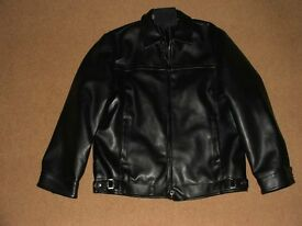 MANS LEATHER LOOK COAT , SIZE MEDIUM BLACK, NEW