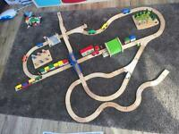 Bigjigs wooden train set with extras