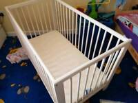 Like new IKEA wooden baby cot with mattress bumper cover and sheets VGC