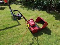Red Suffolk Punch E14S Electric lawnmower with roller.