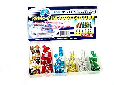 120pc MINI Blade Fuse Assortment Auto Car Motorcycle SUV FUSES Kit APM ATM