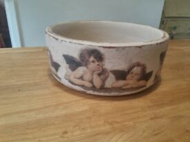 Decoupage wooden bowl
