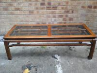 Large glass oak coffee table with 2 glass tops