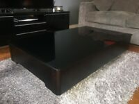 Modern Solid Black Wood / Glass Coffee Table