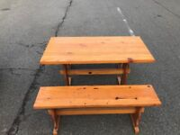 KITCHEN DINNING TABLE AND TWO BENCHES IN CLEAN GOOD CONDITION