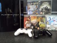 SONY PS3 Playstation 3 + 2 controllers + 6 games GTA 5 FIFA FallOut 3 Red Dead Need For Speed