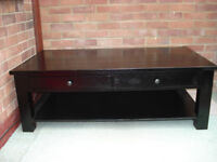 Solid Ashwood 4 Drawer Coffee Table with Attractive Lacquered Gloss Finish