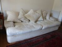 Large cream pillow back sofa - 4 seater. 8ft long (detailed measurements in photo)