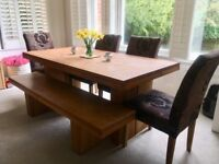 Solid Teak Dining Table With Chairs And Bench