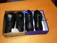 Boxed 2 pairs of black leather shoes. Size 5