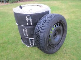 4 x Dunlop SP Winter Sport 3D Tyres (205/55R16 91T) on Steel Wheels (plus Protective Covers)