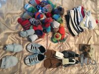 Shoes,socks and hats bundle 0-3 months Boys (some brand new with labels)