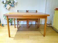 Danish Teak Extendable Dining Table and 4 chairs with linen covers