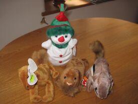 Ty Beanie Baby Snowgirl, Camel, Walrus & Chipmunk