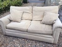 Two John Lewis 2 seater light beige fabric sofa's with footstool all in immaculate condition