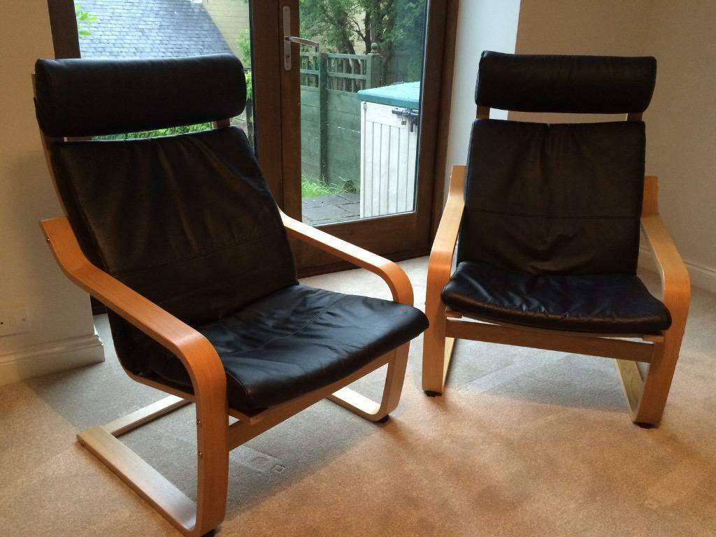 2 ikea poang chairs with black leather cushions as new for Ikea poang leather