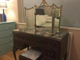 Dressing table, mirror & stool