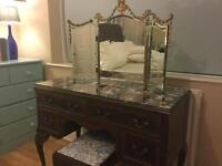 Dressing table, mirror & stool