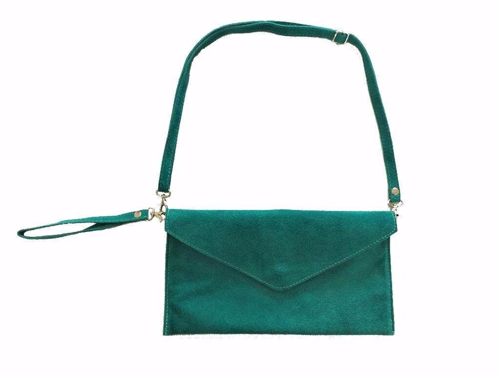 Women's teal suede envelope pochette and shoulder bag, clutch bag